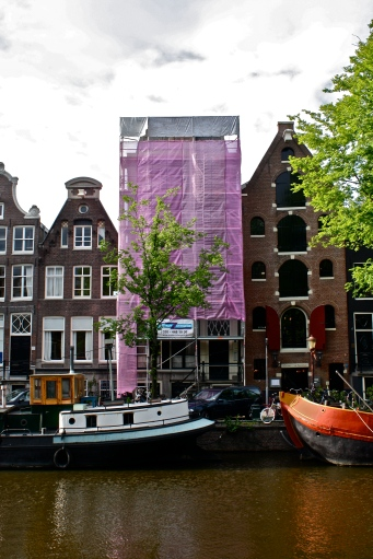 Pink clad building, Amsterdam