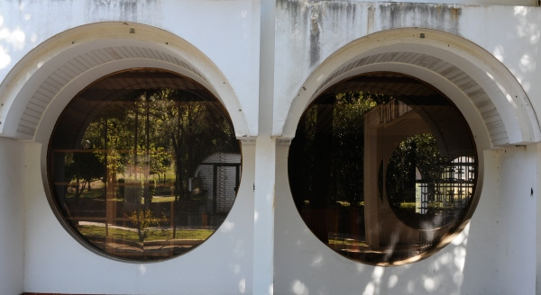 Abandoned hotel, circle window, Montenegro