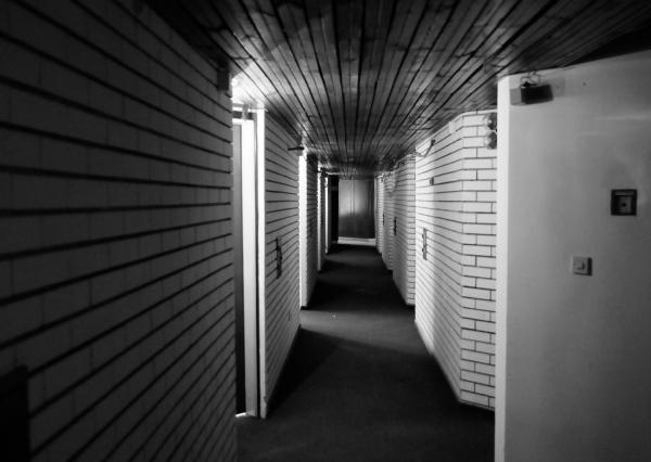 Abandoned hotel, hallway, Montenegro